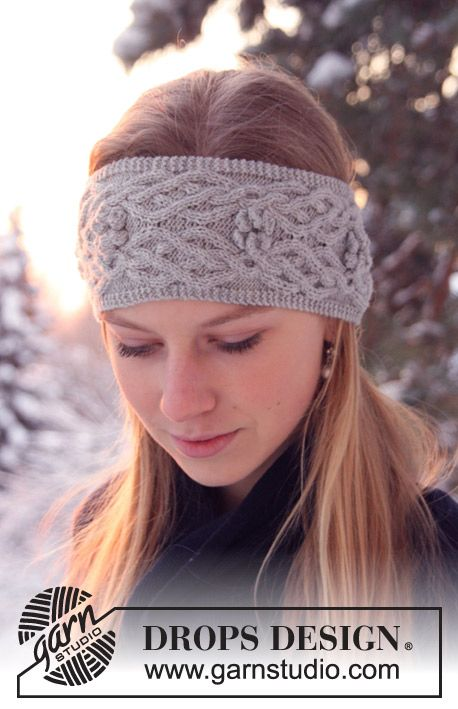 "Knitted DROPS   head band in ""Alpaca"" with cables and bobbles"