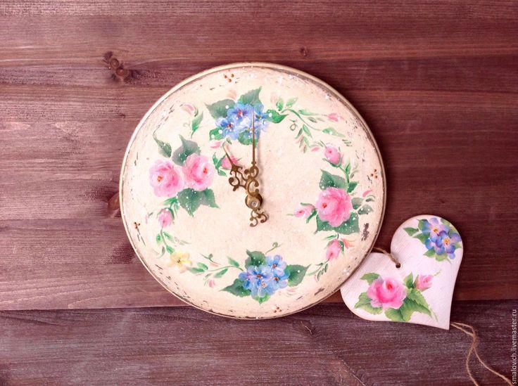 Купить Часы настенные с росписью, сердечко в подарок - бежевый, часы, часы настенные, деревенский стиль