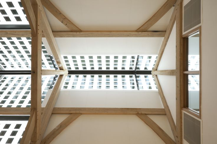 Oak Frame and Glass ceiling detail - Aldenham School