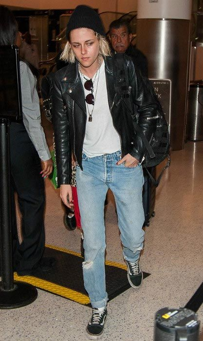 Kristen Stewart debuted her new platinum blonde tresses as she arrived at the LAX airport in Los Angeles, California on April 11, 2016 with her French girlfriend Soko Sokolinski to catch a late night flight. The 25 year old actress was dressed up in her usual androgynous ensemble comprising of loose jeans, top and leather jacket and her partner went for slight edgy look by donning a fur jacket with animal print.