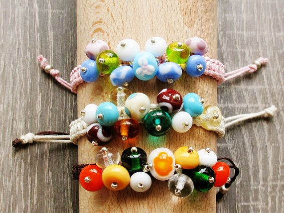 Knotted Bead Bracelet Colorful Lampwork by GlassHouseLampwork