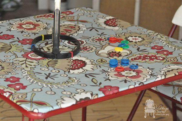 Makeover a Card Table Using a Spray Paint, Shower Curtain, & Mod Podge :: Hometalk