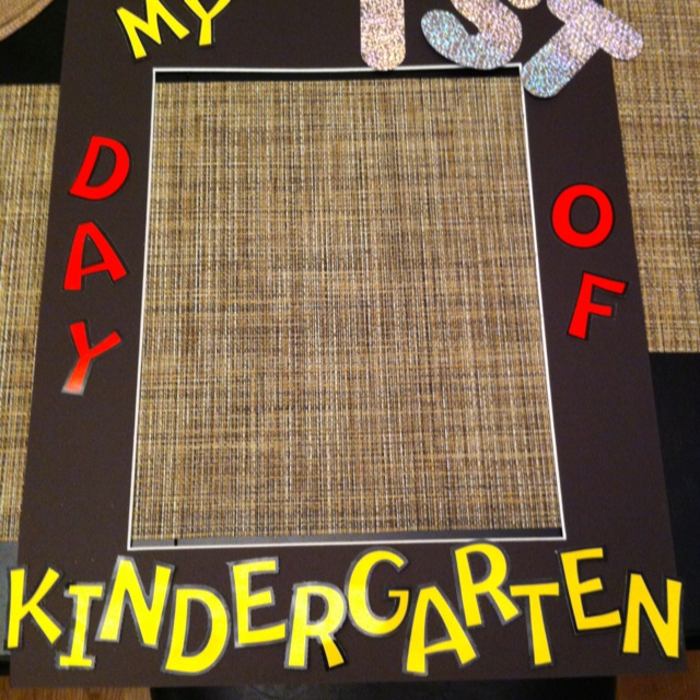 "My first day of kindergarten frame. Students will hold up the frame and I'll take a picture of them. I'll change the ""1st"" to ""100th"" then ""Last"" :)"