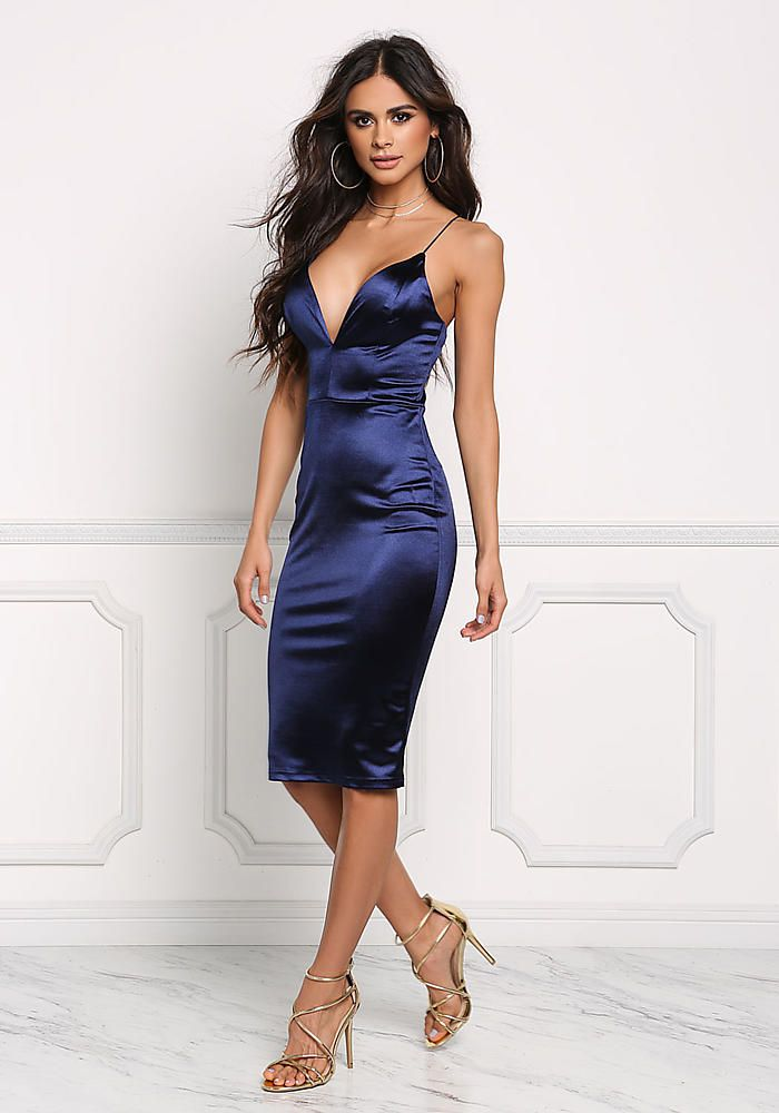 Navy Satin Cross Strap Plunge Bodycon Dress - Boutique Culture