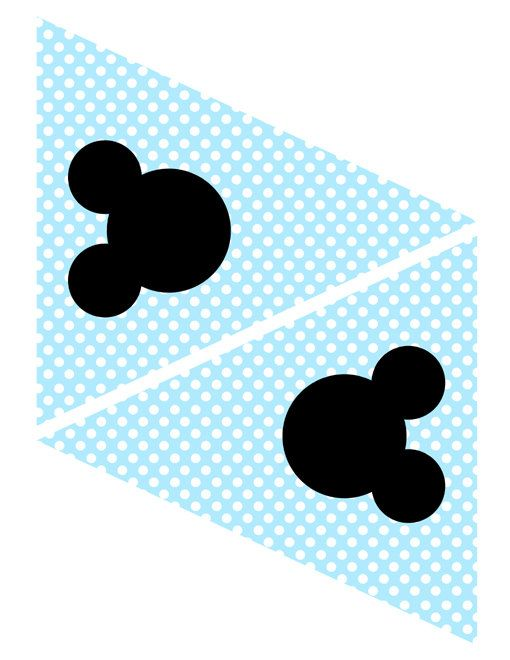 INSTANT DOWNLOAD - Mickey Mouse Light Blue Banner Flag Bunting Triangles Party Supplies and Decorations