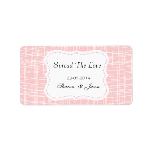 """A fabulous idea for wedding favors, little pots of jam or honey add these stylish little labels in pink and white pattern """"Spread The Love"""" personalized with your wedding date and initials or names. #wedding #favors #jam #labels #spread #the #love #canning #labels #wedding #diy #wedding #favors #personalized #wedding #favors #pink #patterned #stylish #jar #labels #weddings #wedding #stickers #favors #personalized #names #initials #monograms #white #pattern"""