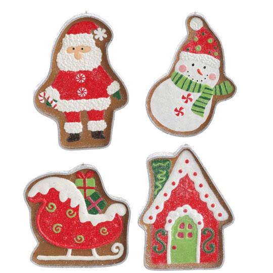 RAZ Cookie Confections 9 inch Cookie Cutter Ornaments set of 4  shelley b home and holiday