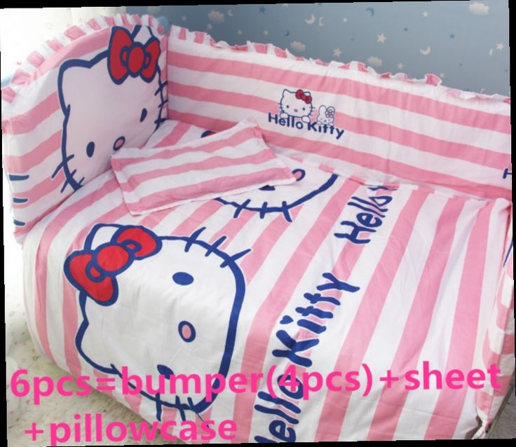 44.20$  Watch here - http://alidcl.worldwells.pw/go.php?t=32378718120 - Promotion! 6PCS Hello Kitty baby bedding sets baby crib set for boys ropa de cuna (bumpers+sheet+pillow cover)