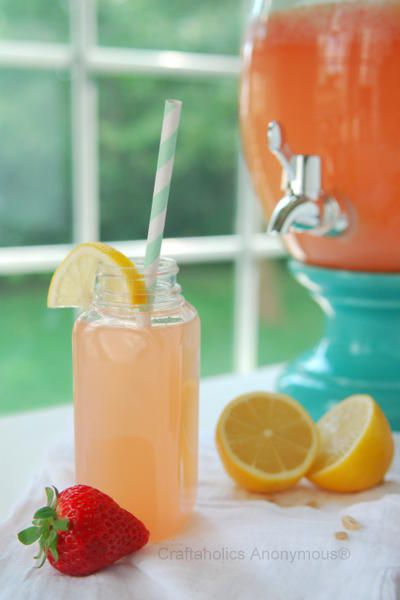 Strawberry Lemonade Recipe  2 c fresh lemon juice  2.5 c sugar 2 c fresh strawberries 12 c water  Puree strawberries. {aprx 1 cup pureed} Strain the puree thru cheesecloth to remove seeds. Mix together lemon juice & sugar til dissolved. Stir in water & add strawberry puree. Mix well. Serve over ice and garnish with a slice of lemon or strawberry. [paraphrased]
