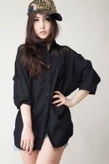 Black shirt with mesh shoulder