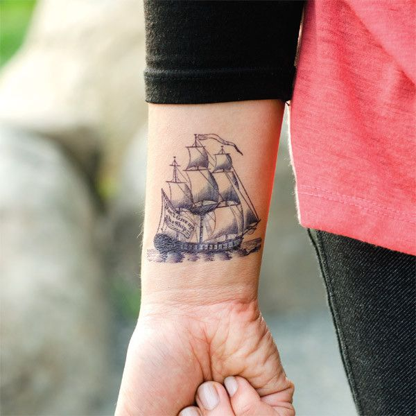 """""""The Cartolina Set features five classic nautical motifs designed by Fiona Richards. Their slightly blue color gives these designs an authentic, porcelain-like look!"""": Tattoo Ideas, Pirates Ships, Wrist Tattoo, Ships Tattoo, Sailing Ships, Tall Ships, Nautical Tattoo, Tattoo Design, A Tattoo"""