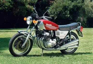 Benelli Sei 750, produced from 1974-1977. Check out the six chrome pipes! (Photo by Nick Cedar, article by Margie Siegal; Motorcycle Classics September/October 2006)
