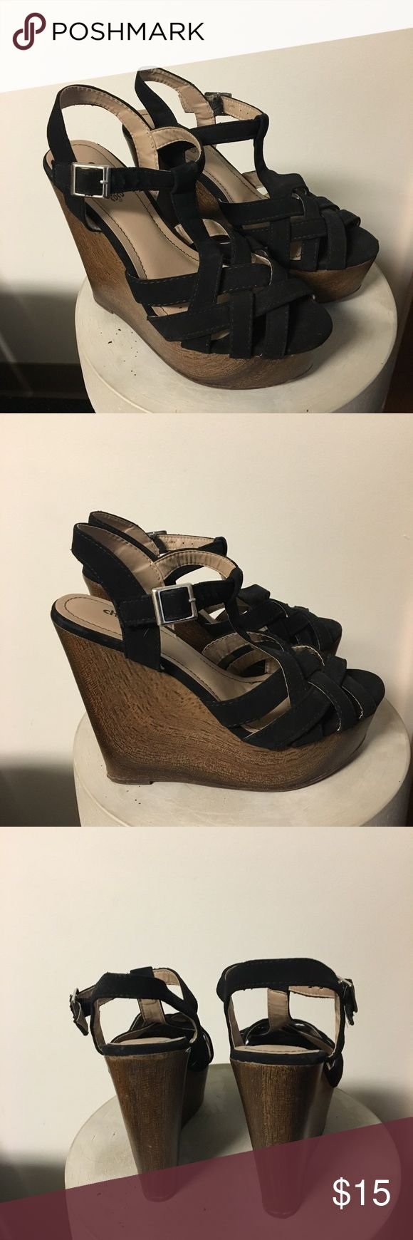 Black woven Charlotte Russe Wedges