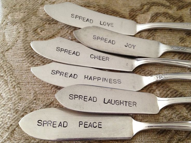 Spread Love  vintage silverware hand stamped cheese spreader, butter knife. $14.95, via Etsy.