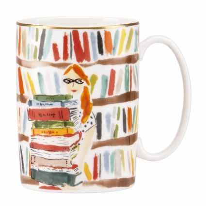 Library Books Mug - $20 this porcelain mug is designed with a bookworm in mind—after all, there's nothing we love more than curling up with coffee and a good read. we've dressed up this mug with a specially commissioned watercolor from one of our favorite artists and given it a gold rim for a luxurious finishing flourish.      * single mug     * illustration by bella foster     * dishwasher safe     * made in indonesia     * style # 818940