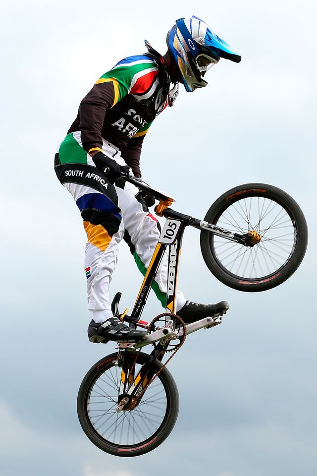 Sifiso Nhlapo of South Africa competes during the Men's BMX Cycling on Day 12 of the London 2012 Olympic Games at BMX Track on August 8, 2012 in London, England.  2012 Getty Images