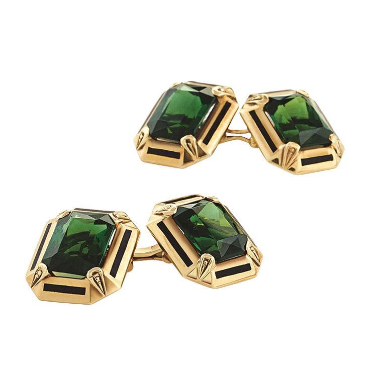 Art Deco Enamel Tourmaline Gold Cuff Links | From a unique collection of vintage cufflinks at https://www.1stdibs.com/jewelry/cufflinks/cufflinks/