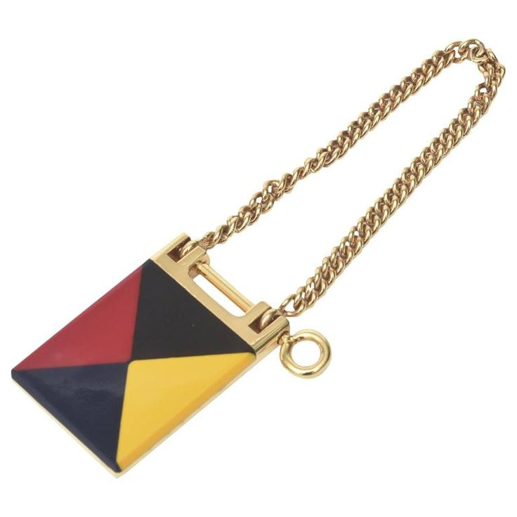 Geometric Gucci Mondrian Style Key Ring | From a unique collection of vintage more objets d'art and vertu at https://www.1stdibs.com/jewelry/objets-dart-vertu/more-objets-dart-vertu/