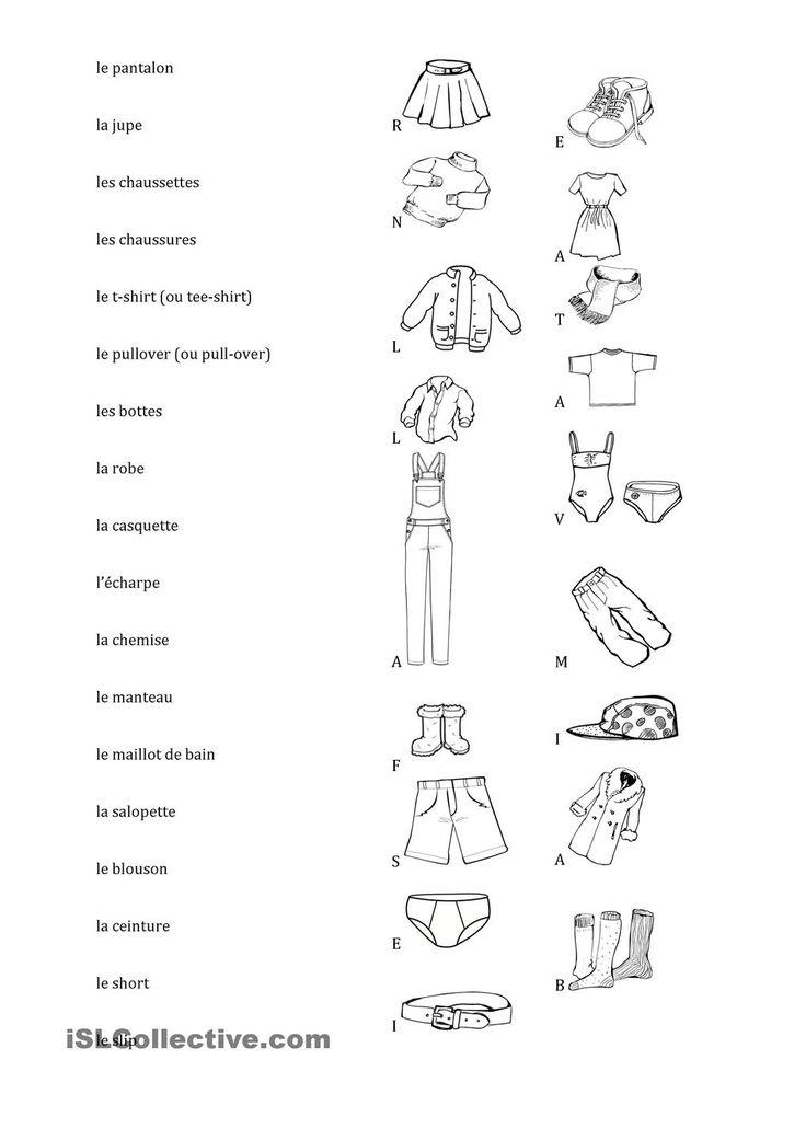 Vêtements, relie les mots et les images