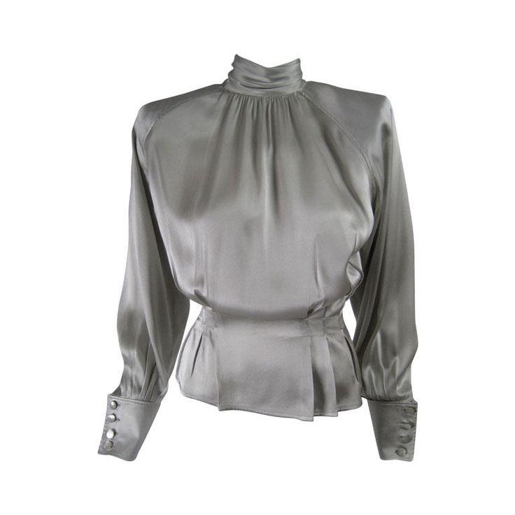 Ungaro Silk Charmeuse Evening Blouse --90's