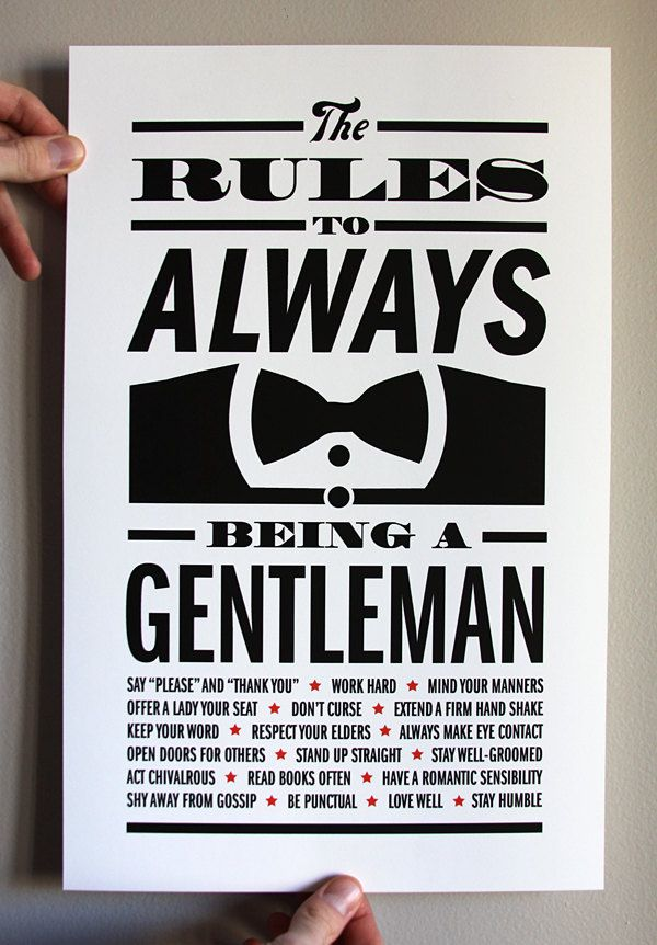 Gentleman Rules Print 11x17 by DapperPaper on Etsy