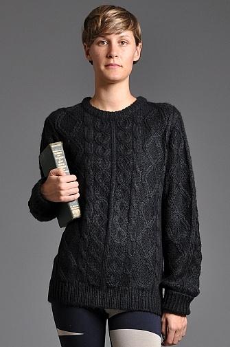 Handsom Cable Knit Jumper Dark Grey