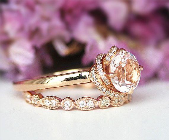 Unieke trouwring Rose vormige ronde Cut 14K geel gouden diamanten trouwring verjaardag Ring natuurlijke roze Morganite verlovingsring