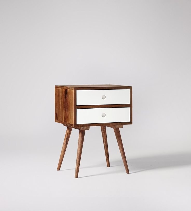 Swoon Editions Bedside table, mid-century style in rosewood & white - £129