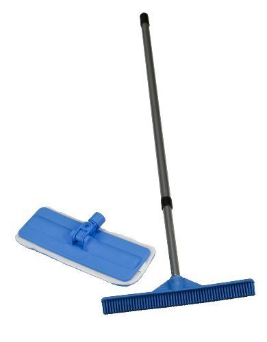 Evriholder FURemover Broom and Microfiber Mop Combo by Evriholder. $22.20. Built in squeegee also cleans windows and wet floors. Soft microfiber mop cleans, dusts and polishes. 80% Polyester/ 20% Polyamide. Natural rubber broom head is ideal for removing pet hair from carpet, wood, tile, and linoleum floors. Versatile and affordable cleaning solution. No need for chemical cleaners. The natural rubber broom head is ideal for removing pet hair from carpet, wood, tile...