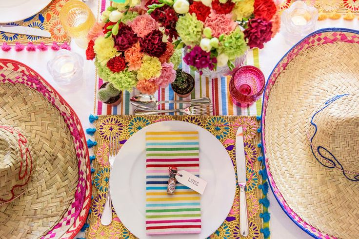 A Mexican Themed Fiesta Party — Nicole O'Neil - Real Housewives of Sydney Blog - Rainbow Striped Napkins, Sombreros