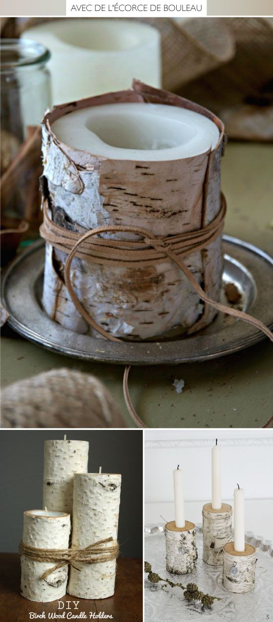 Cool look—pretty leather wrapped birch bark candle❣ mespetitesmainsmagazine.net