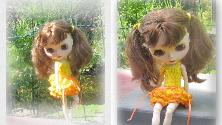 Crocheted dress for Blythe doll, Body Azone FREE Shipping by Shopdollwithowl on Etsy