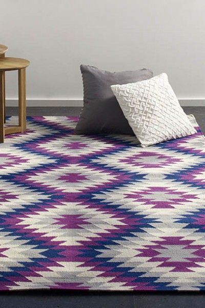 Havana, Dusk -  A vibrant red violet, blue, grey and natural white design flatweave NZ wool rug.  Available to see in store now and available to order in the following sizes:  160 x 230, 200 x 290, 250 x 350