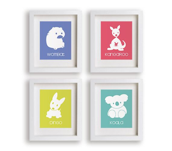Nursery Art  Set of Four Art Prints  Outback Series by NikoAndLily, $39.95