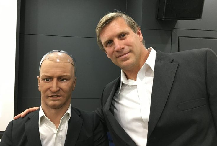 Istvan with Han, a robot developed by Hanson Robotics, at the 2016 Global Leaders Forum in Seoul, South Korea. Picture: courtesy of Zoltan Istvan