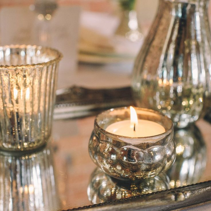 mercury silver tea light holders wedding decorations