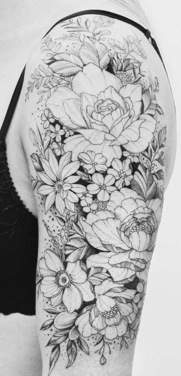 Simple Geometric Tattoos Best Flower Tattoo Design Black And White Yiwen In 2020 Floral Tattoo Sleeve Flower Tattoo Designs