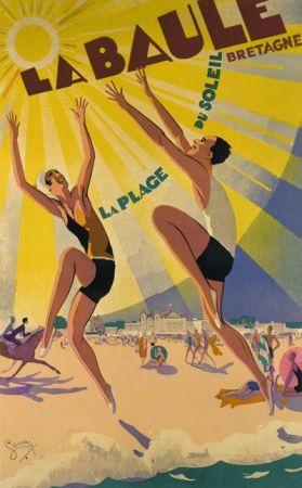 Vintage Travel Poster - France - Brittany - La Baule, Bretagne, plage du soleil !