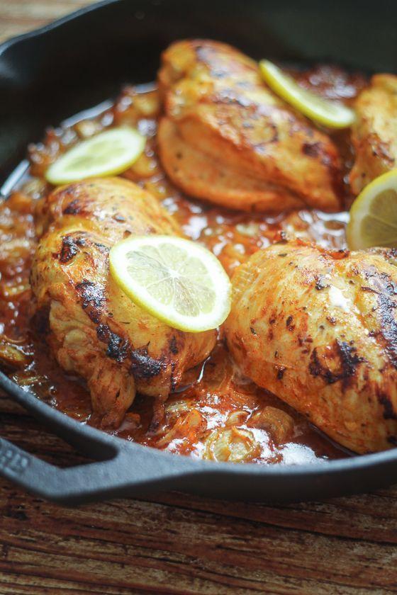 South African Piri Piri Chicken (chicken simmered in a spiced lemon-onion sauce).