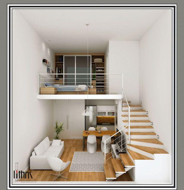 25 melhores ideias sobre loft pequeno no pinterest interior de apartamentos casa de loft e. Black Bedroom Furniture Sets. Home Design Ideas