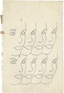 Face repeated eight times, circa 1958. Photograph: The Andy Warhol Foundation for the Visual Arts, Inc