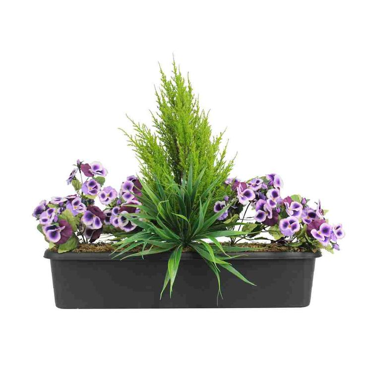 Artificial Pansy Window Box Fake Flowering Pansy Box