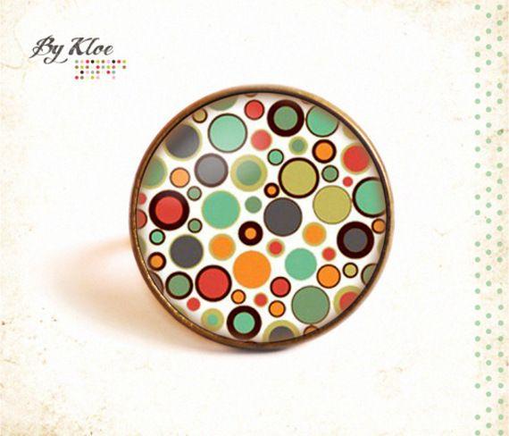 Bague Cabochon • Pois multicolores •  pop verre couleur seventies verre