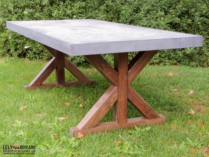 This unique Dining Table features an intricate X-Trestle design along with a Galvanized Sheet-metal top treated with an acid wash giving it a Patina similar to Zinc while still retaining the excellent durability of Steel. A great choice for either Indoor and Outdoor dining!