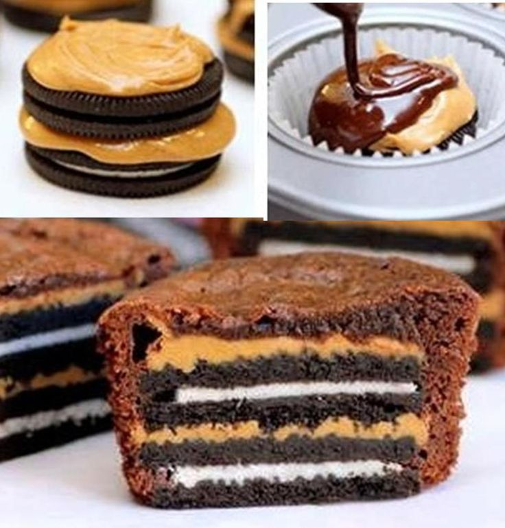 Oreo Peanut Butter Brownies - Oreo + Peanut Butter + ANOTHER Oreo + MORE Peanut Butter.... then topped with Brownie Mix. Bake at 350 for 20 minutes :)