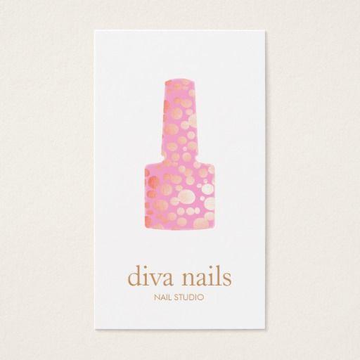 Manicurist Pink Nail Polish Bottle Nail Salon Logo Business Card