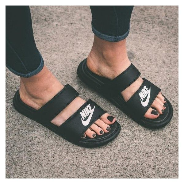 Nike Benassi Duo Ultra Women's Slide Sandals Hawkins Footwear and... ❤ liked on Polyvore featuring shoes, sandals, sports footwear, sports sandals, sport sandals, sports shoes and nike