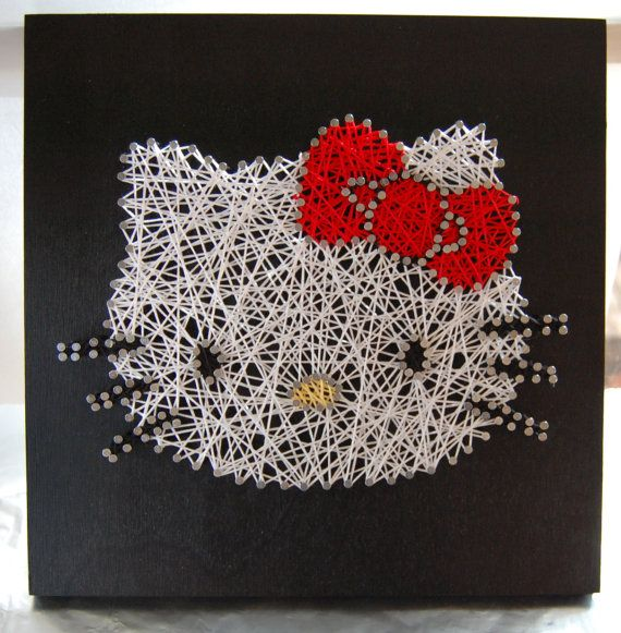 Hello Kitty String Art ~ Custom Wall Art ~ Personalized String Art ~ Nursery Decor Sign ~ Retro on Etsy, $35.00