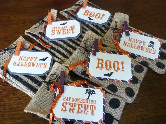 12 Burlap Halloween Treat Bags for Kids by KLundquistDesigns