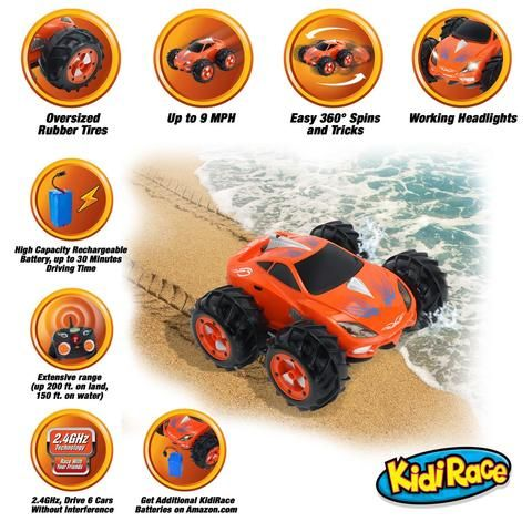 "KidiRace Amphibious Remote Control Car ‒ Orange ‒ 360 Degree Spin Aqua Stunt RC Car - ""#TOYS# KIDS  #Crafts #Candy - #OriginalFunGifts ""#dolls #gifts #cars #fun #office #collectables #laserguntaggames #Arts #girls #brands#save4save #games #birthday #party #music #boys #toddlers #baby #ChristmasHomeDecor #presents #$1PRODUCTS #homedecorations #outdoors #birthdaygreetingcards """